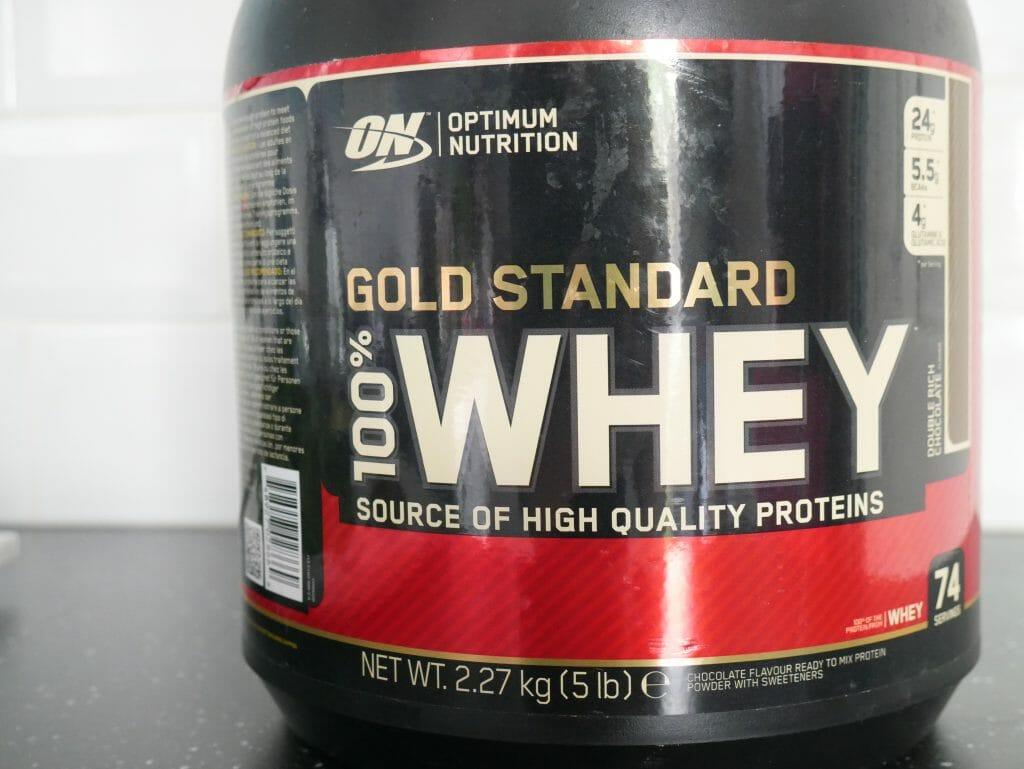 Optimum Nutrition Gold Standard 100 Whey Protein Powder double rich chocolate flavour in a large tub