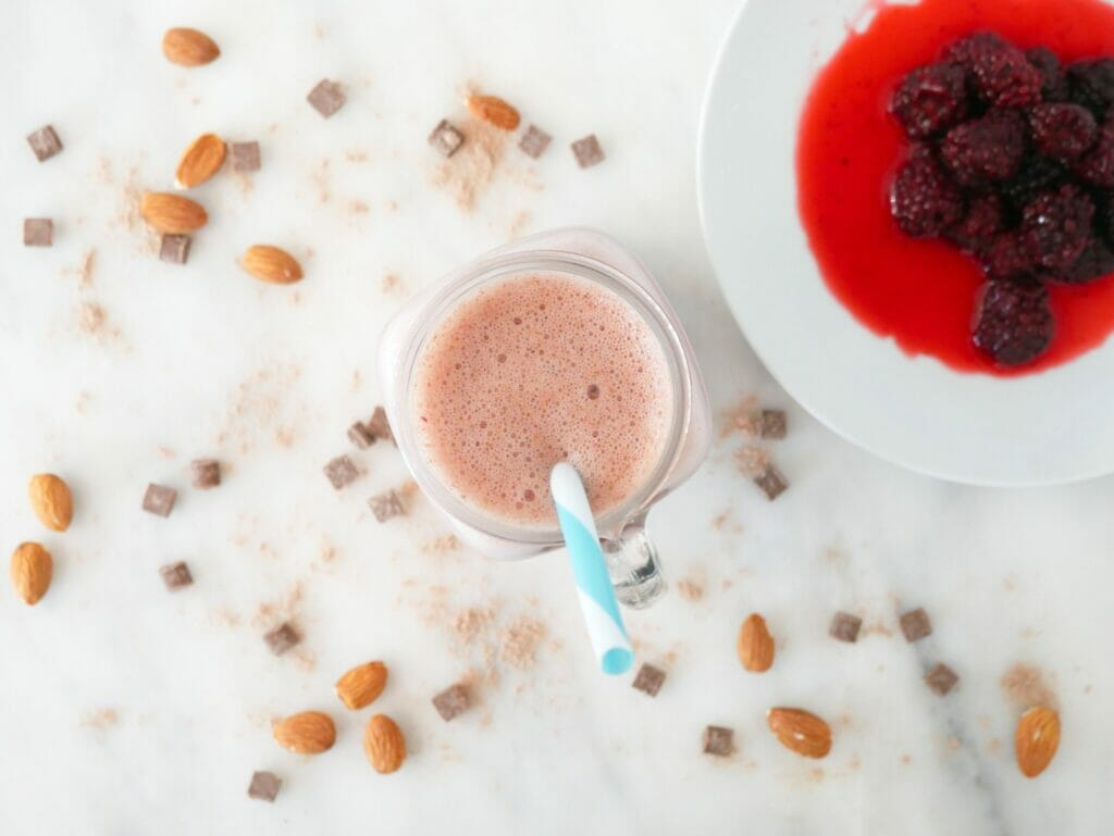 Weight gain protein shake with blackberries, almond and chocolate from above