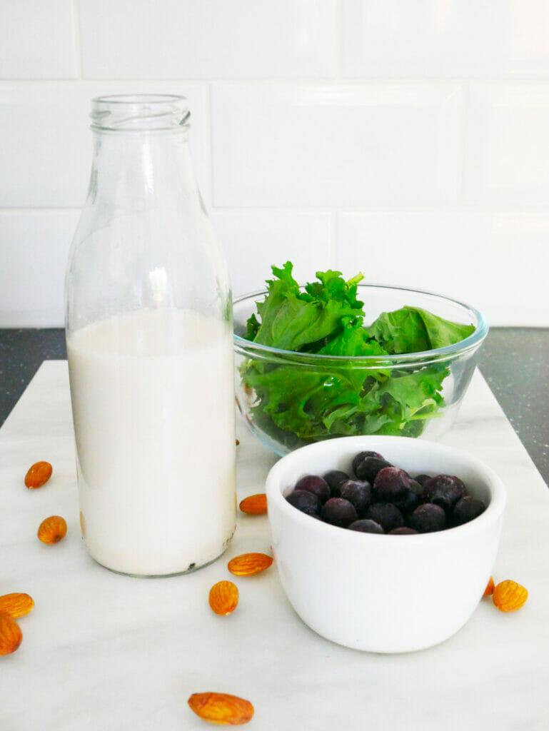 Kale shake ingredients displayed