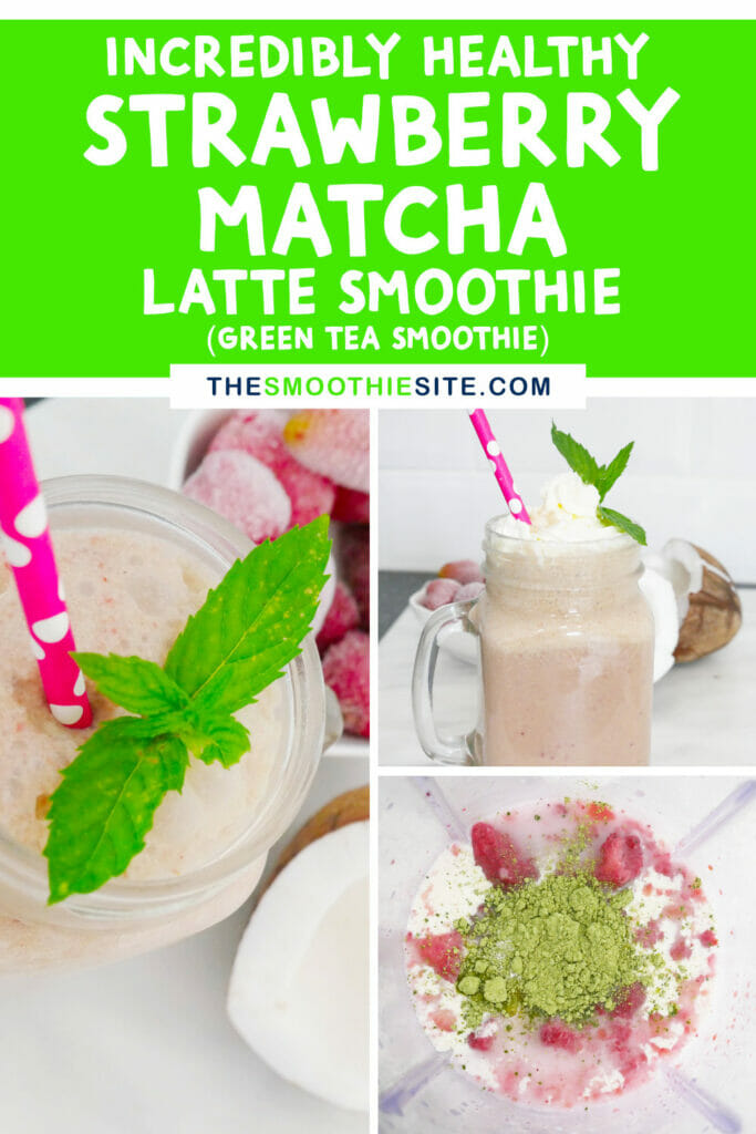 Incredibly healthy strawberry matcha latte smoothie green tea smoothie