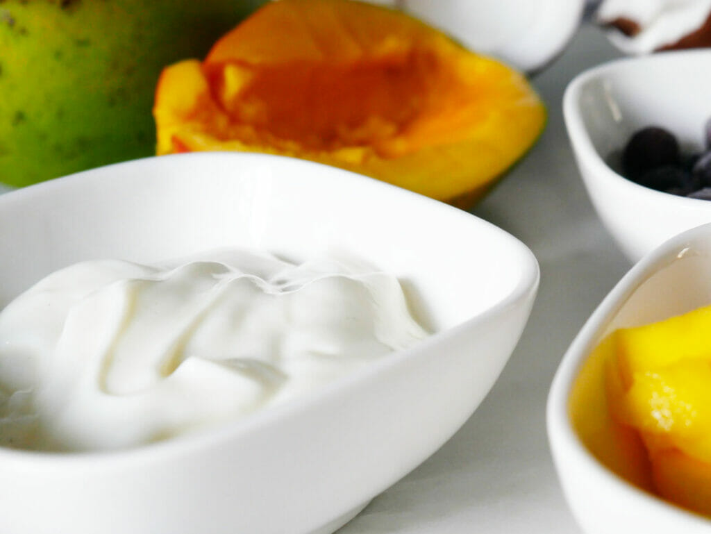 Yogurt with mango for smoothie