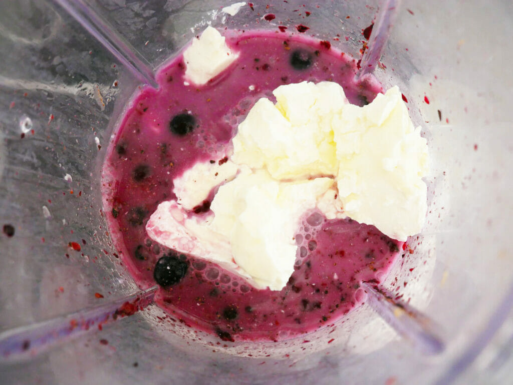 Water added to Keto blackberry smoothie recipe