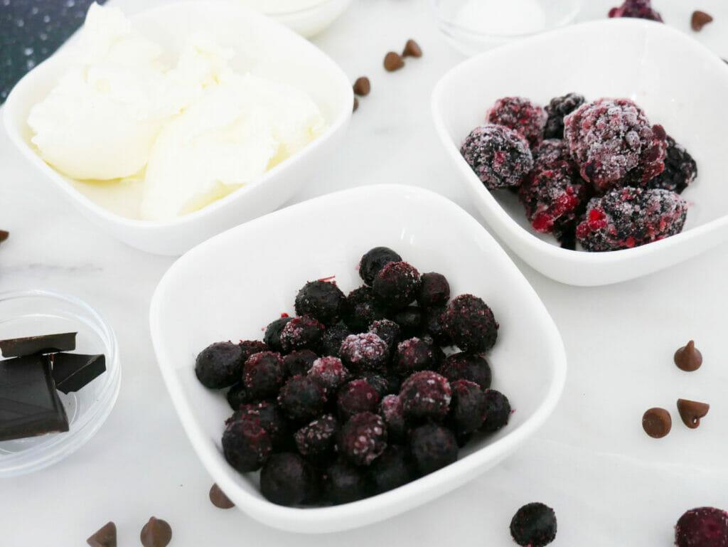 Blueberries and blackberries and Philadelphia smoothie ingredients